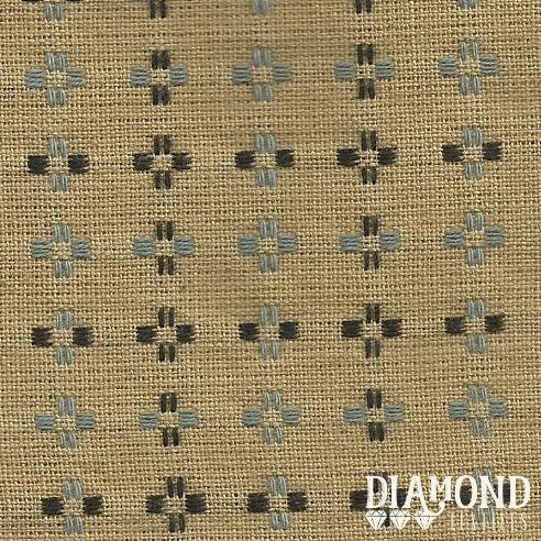Basket Weave 1432 Tan with Blue and Black Stitching Diamond Textiles