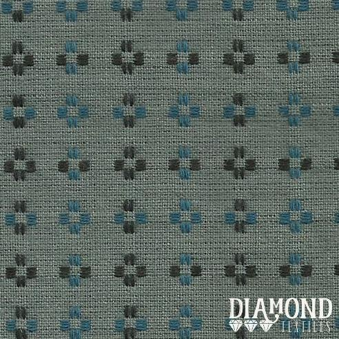 Basket Weave 1435 Blue-Grey with Black and Blue Stitching Diamond Textiles