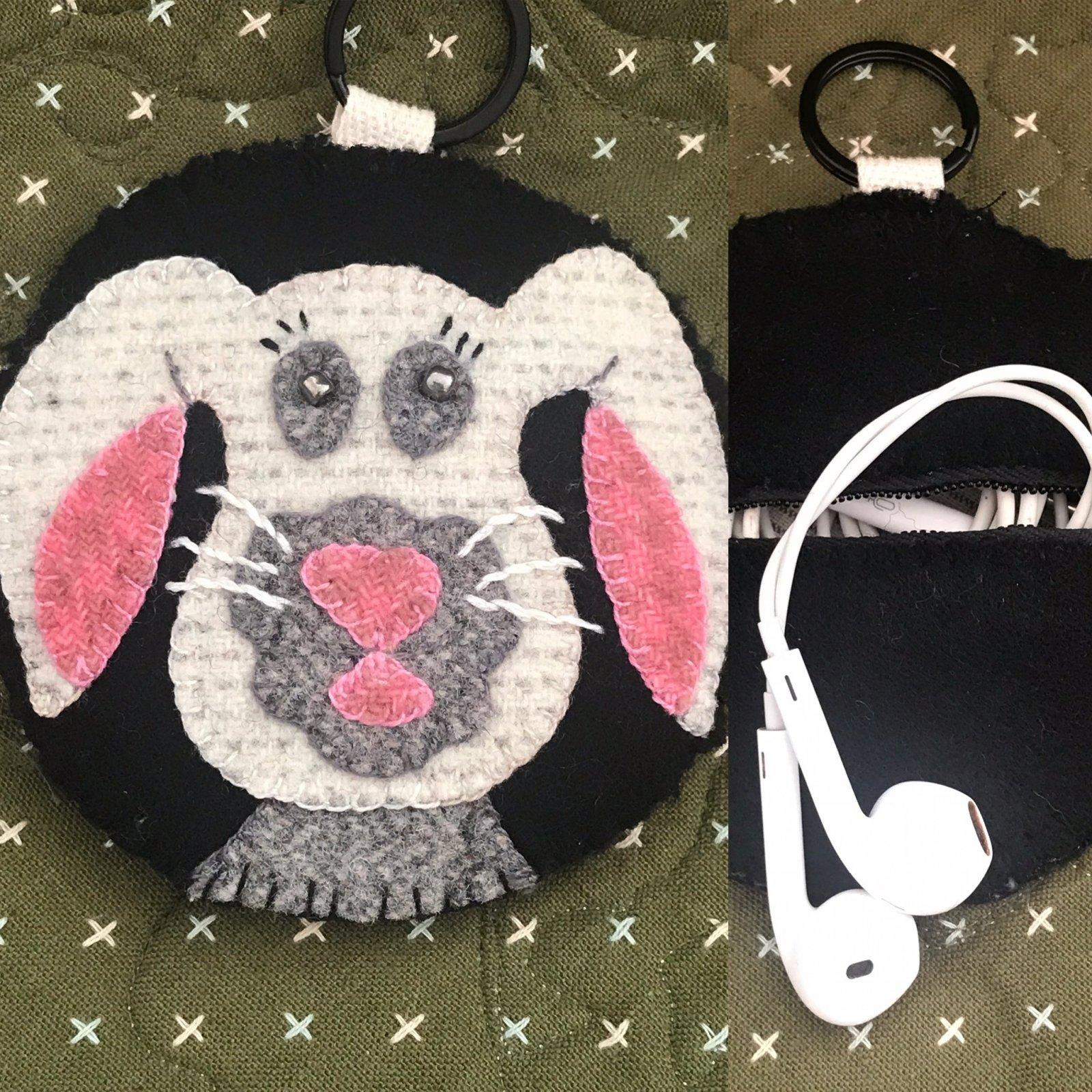 Bunny EarBud/Key Fob Printed Pattern