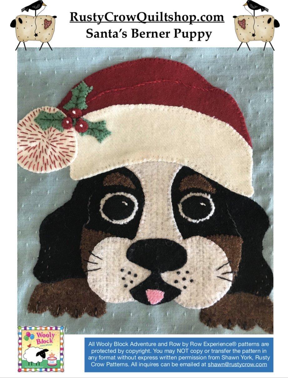 Wooly Block Adventure Santa's Berner Puppy Printed Pattern