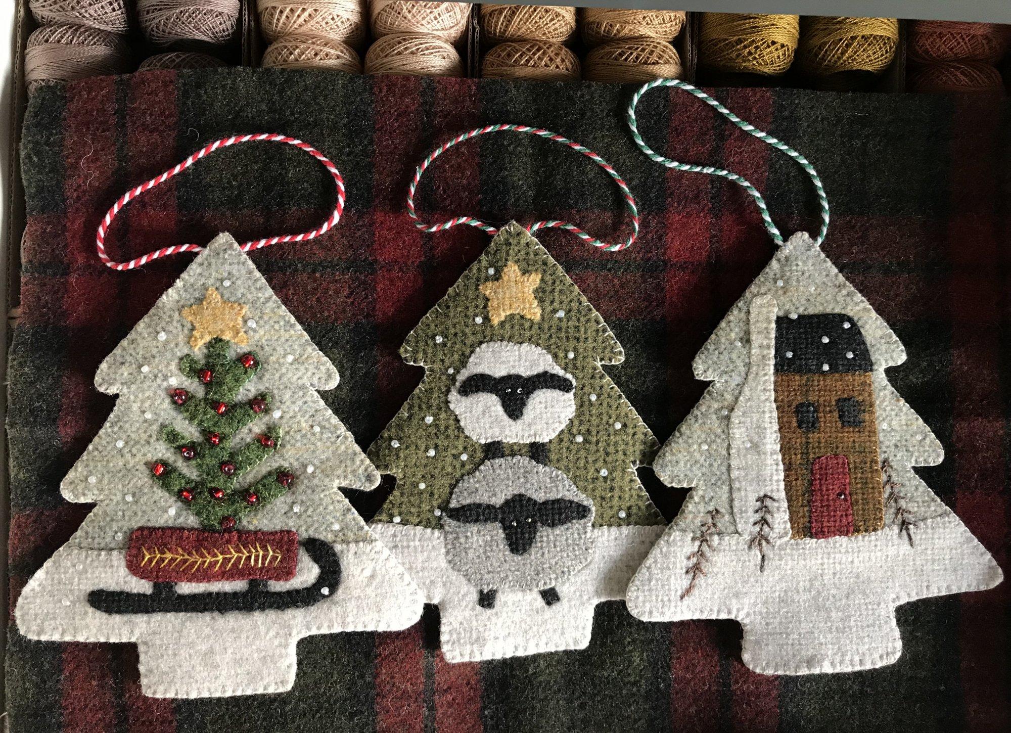 Three Woodland Ornaments 5.5 X 6.5 Wool Kit & Pattern