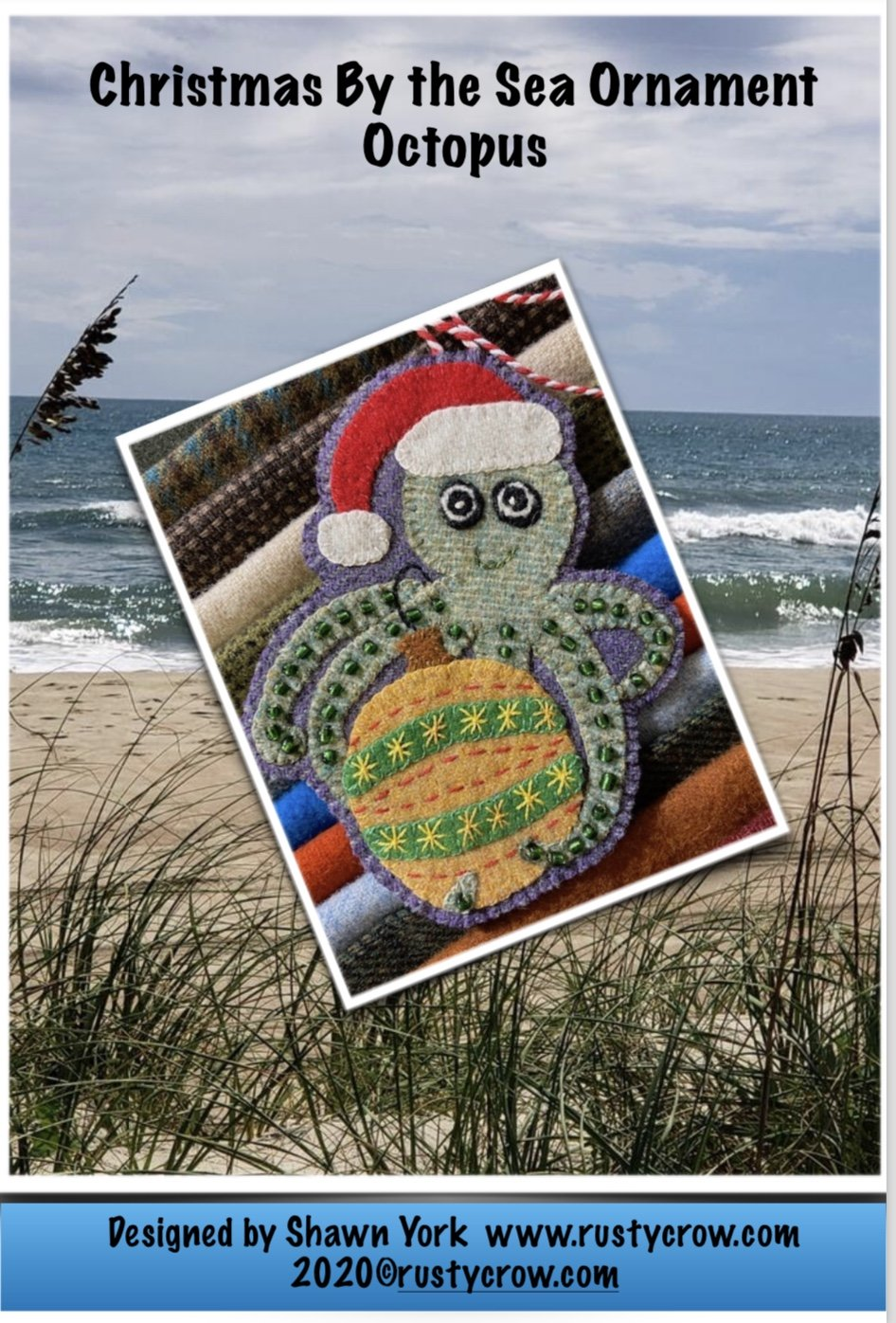 Christmas by the Sea Octopus Ornament for Wool Kit with Printed Pattern