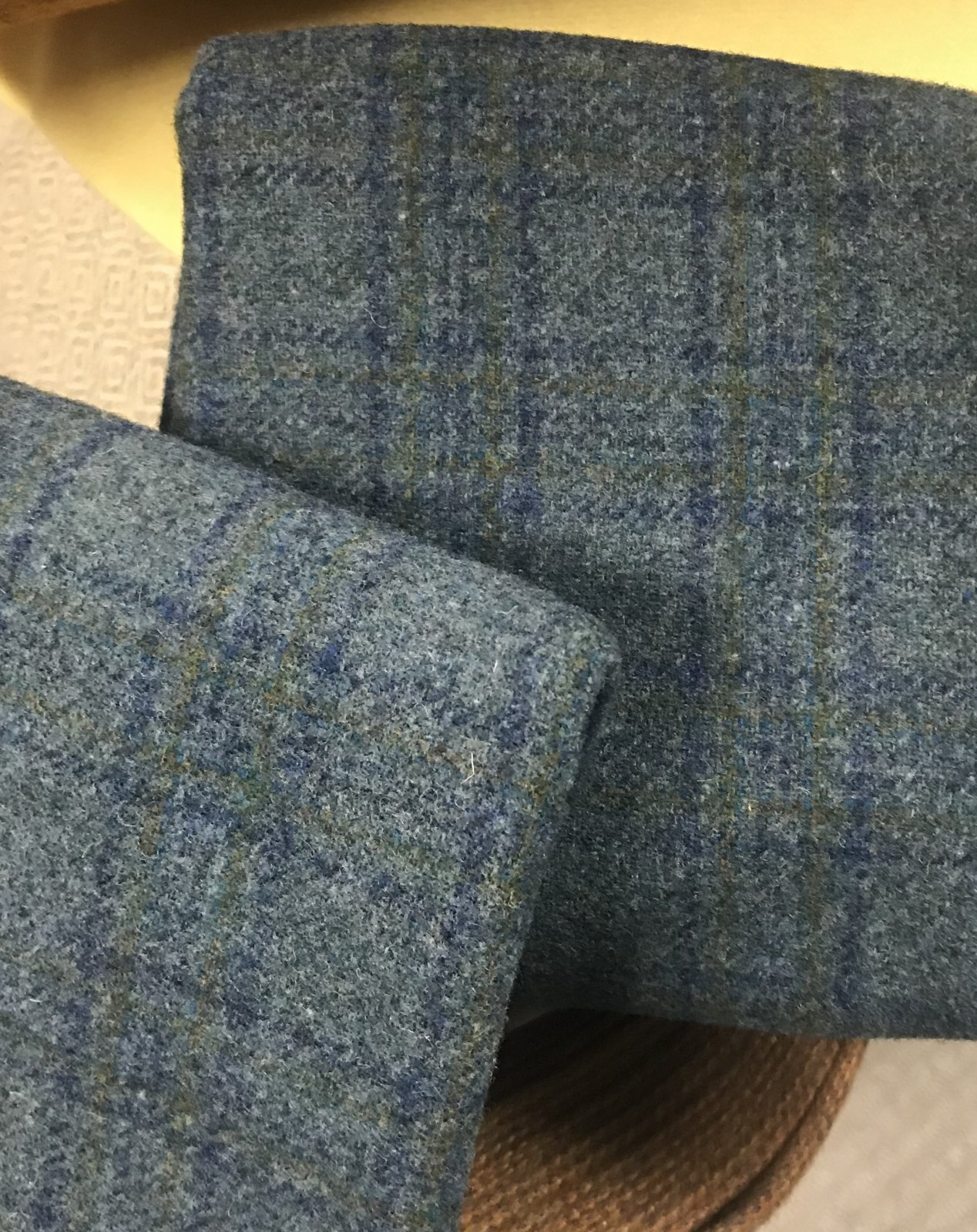 Aqua Teal Plaid 18 X 21 100% Wool