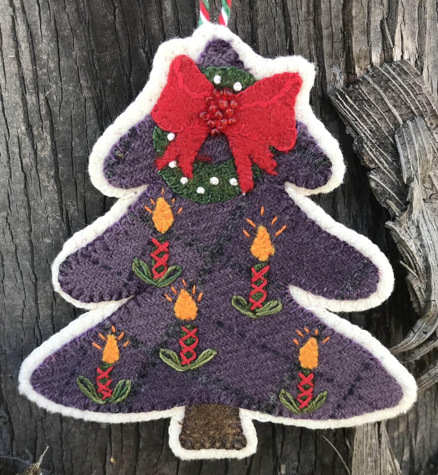 Sugar Plum Parish Candle Stick Christmas Tree Wool Kit with Printed Pattern