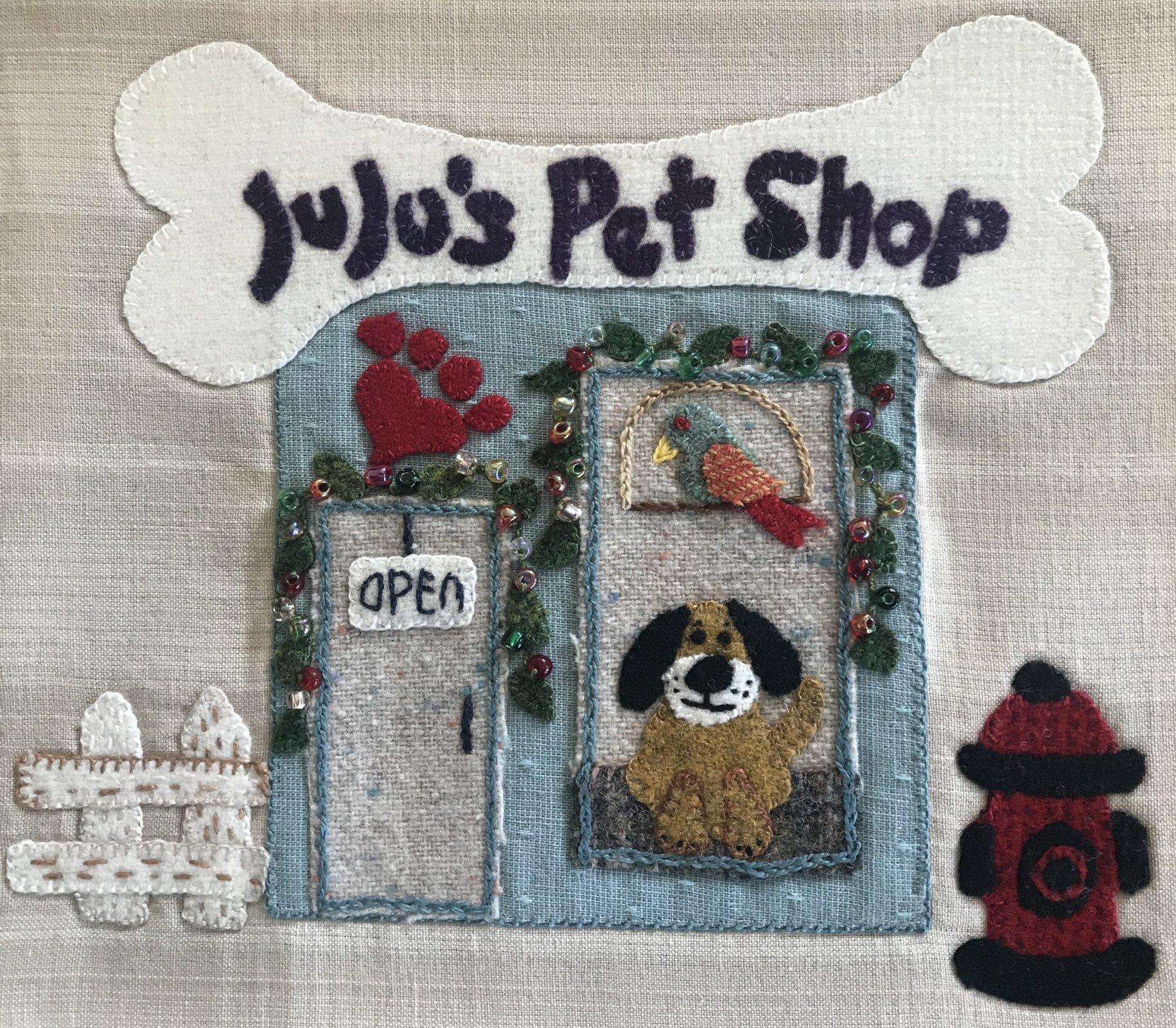 Christmas Village Pet Shop Block Wool Kit & Printed Pattern
