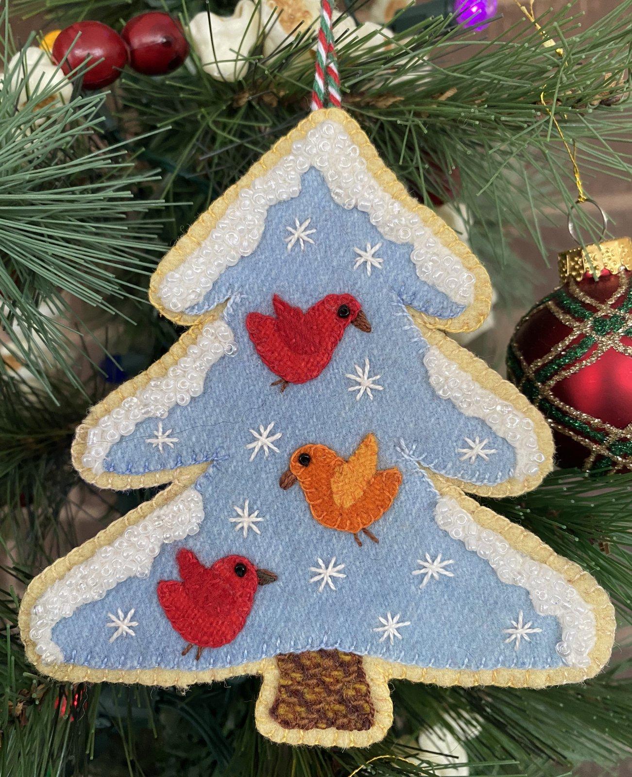 Sugar Plum Parrish Songbird Christmas Tree #11 Ornament Wool Kit with Printed Pattern