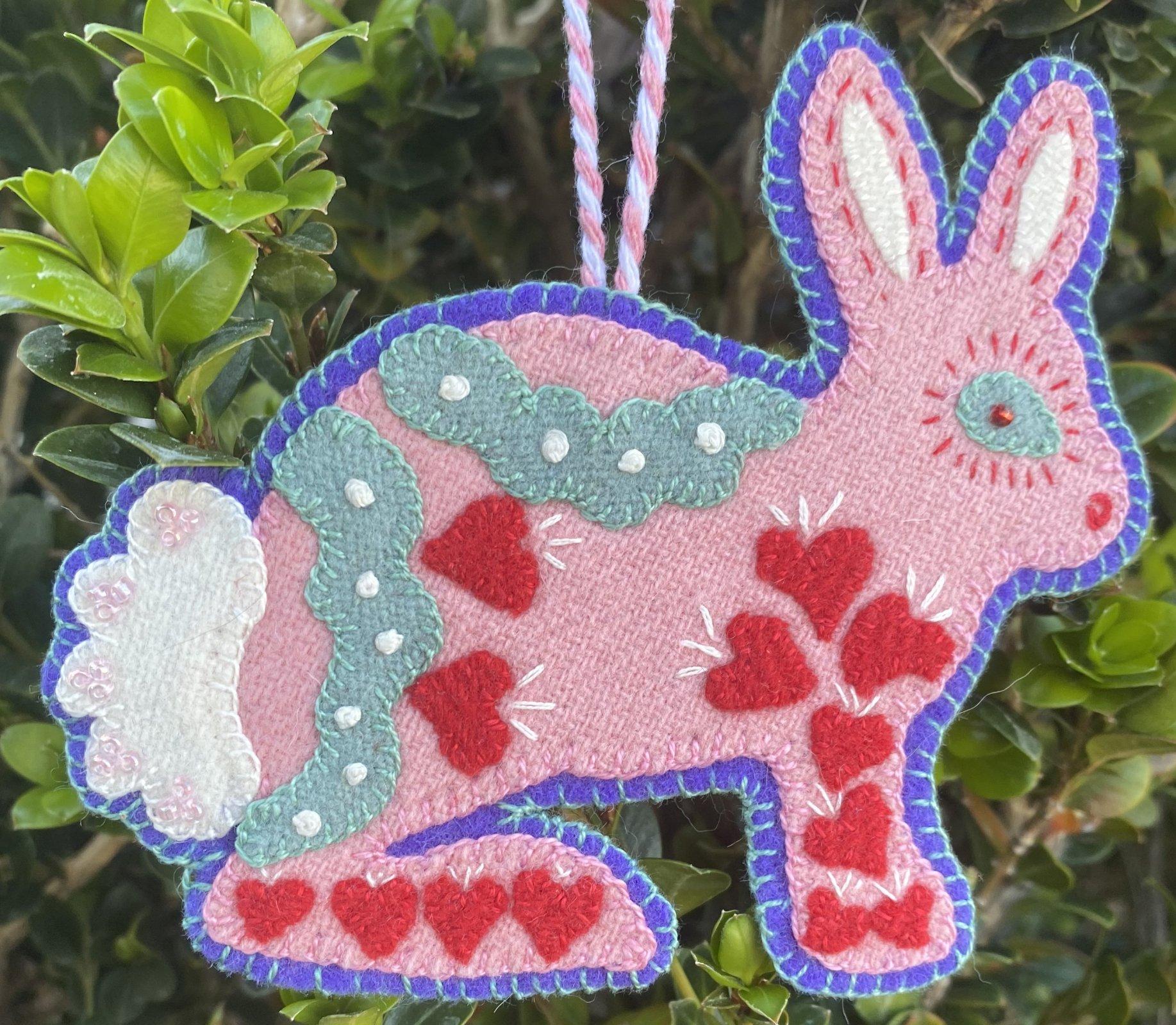 Valentine, The Rabbit Modern Folk Art Friends Ornament Wool Kit with Printed Pattern