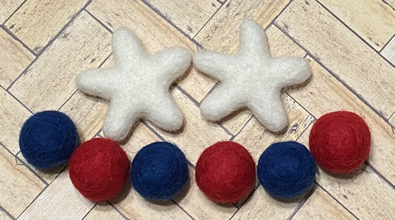 USA Proud Banner Extra Felt Stars and Balls Kits only  (Red, White and Wool Project)