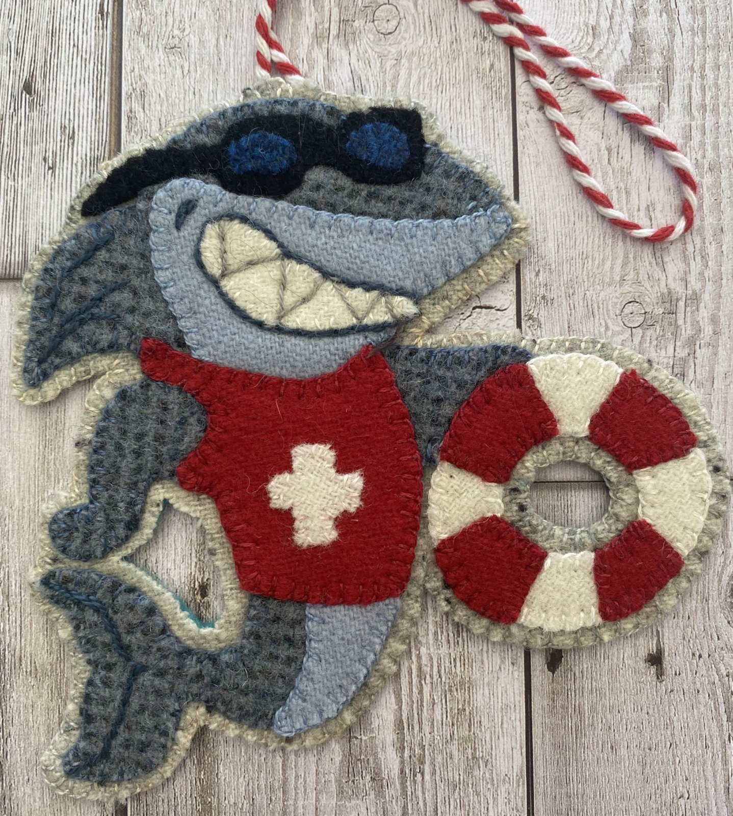 Great White Lifeguard Shark Christmas by the Sea Bonus Ornament Wool Kit with Printed Pattern
