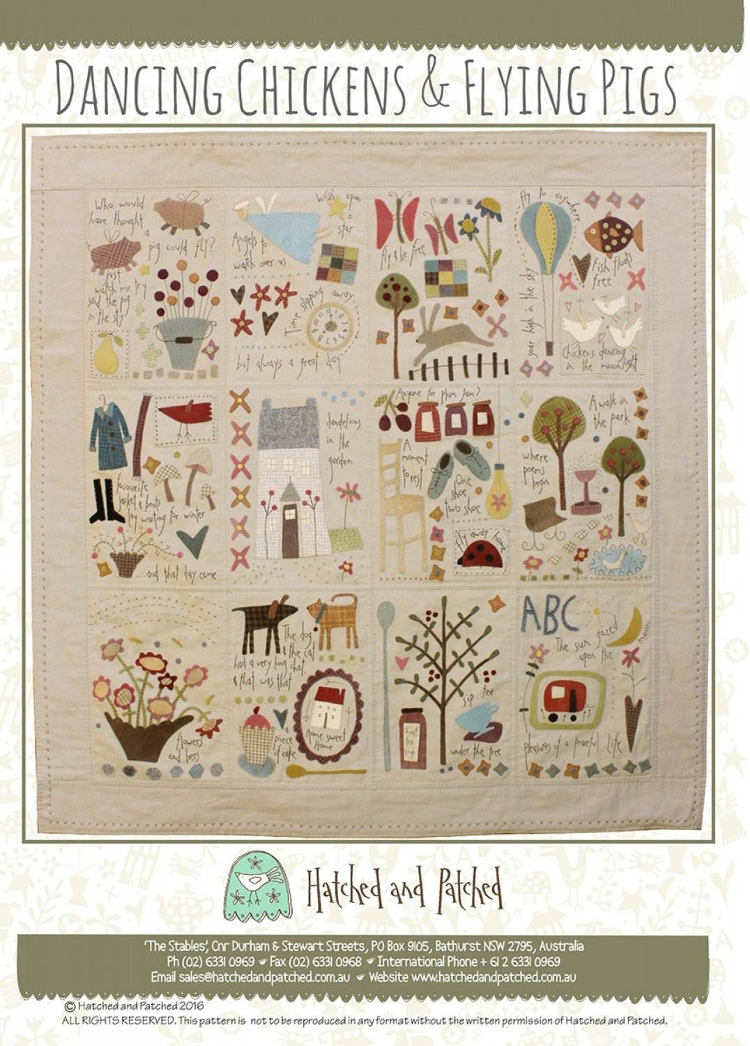 Dancing Chickens And Flying Pigs Pattern by Hatched & Patched