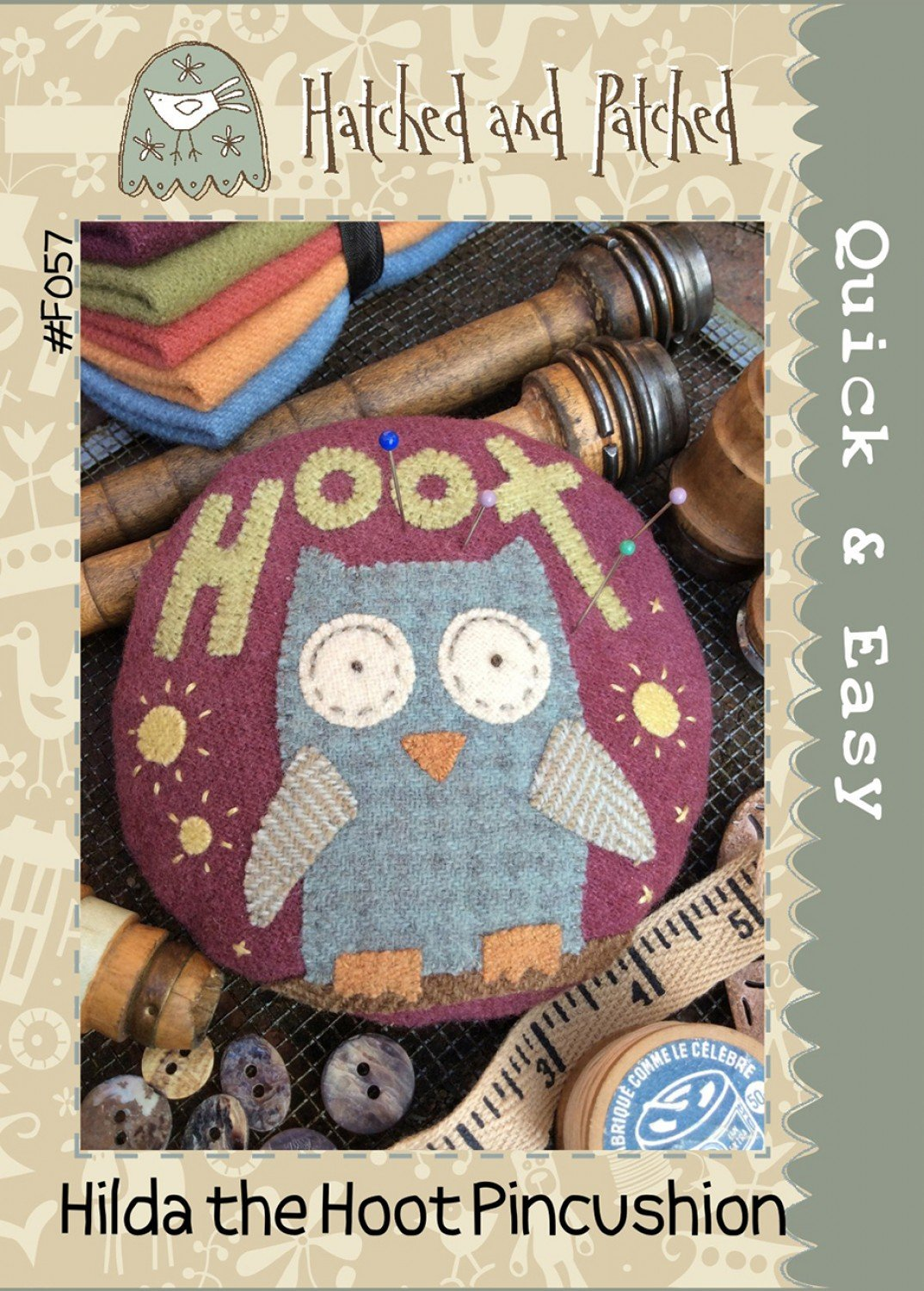 Hilda the Hoot Pincushion by Hatched & Patched