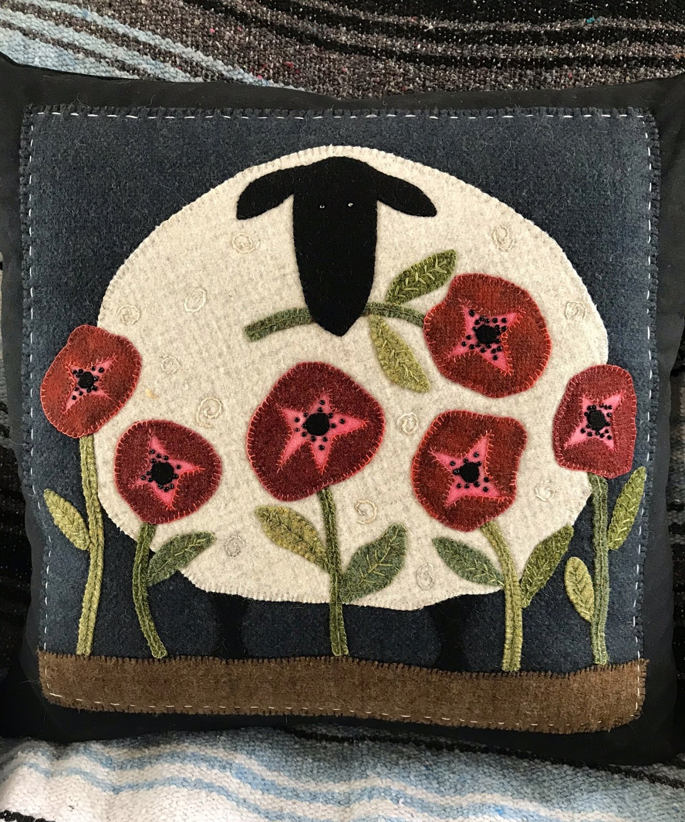 Picking Poppies Wool Applique Kit with Pattern (Not included is the Pillow Form)