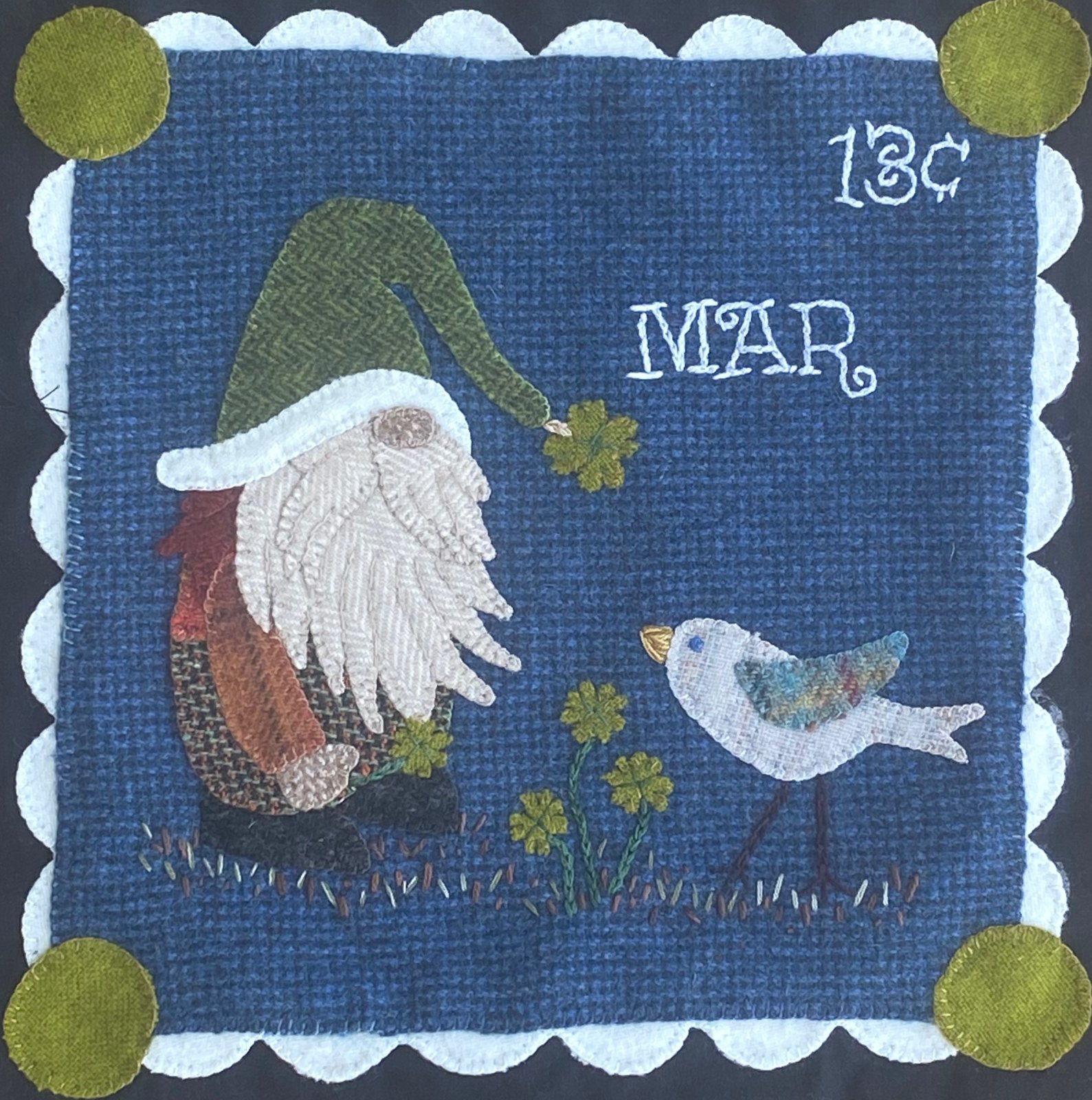 Irish Gnome March Block Woolie Stamp Collection Mystery Stitch-A-Long Kit with Printed Pattern