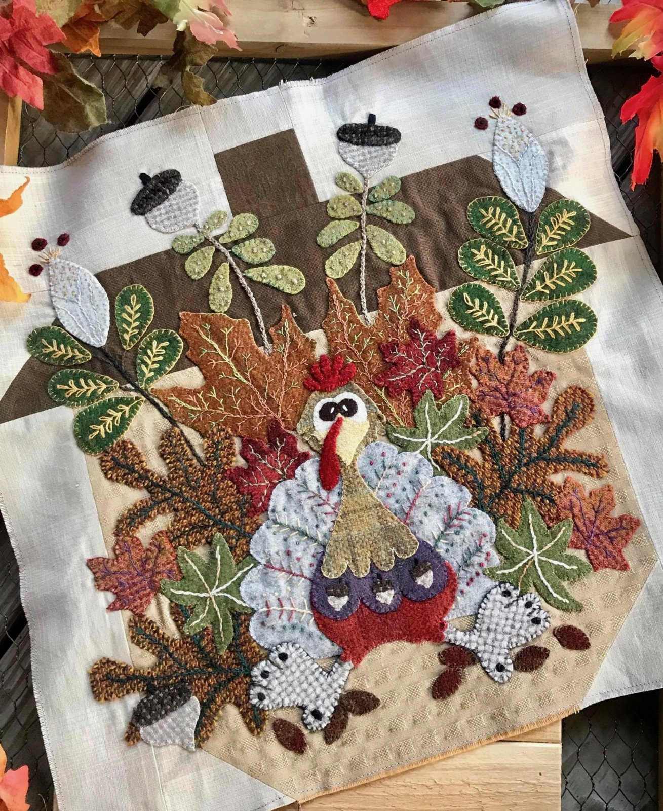 Woolen Oaks Mystery Block #5 Blooming Turkey Printed Pattern Only