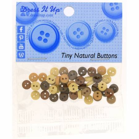 Tiny Natural Buttons (40 Pieces) 2-holed