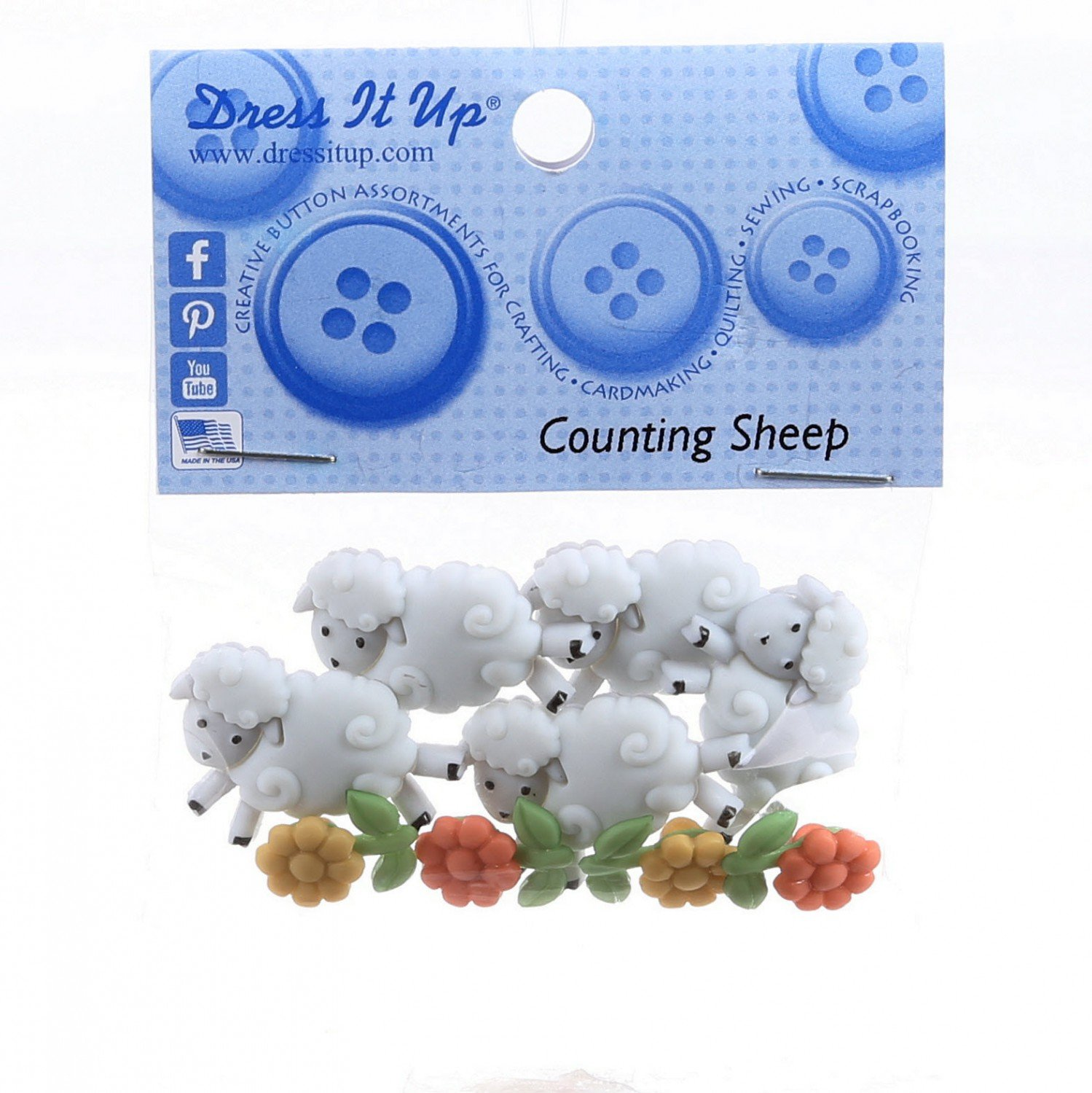 Counting Sheep & Flowers Buttons  (7 Pieces)
