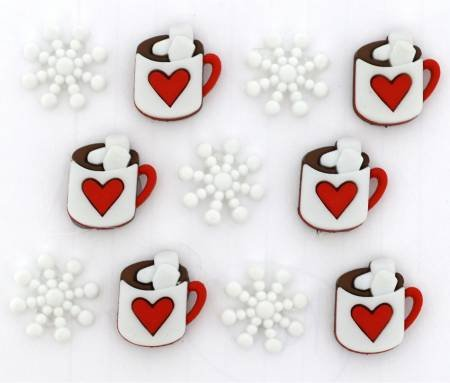 It's Cold Outside Buttons (9 Pieces) Cups of Cocoa and Snowflakes
