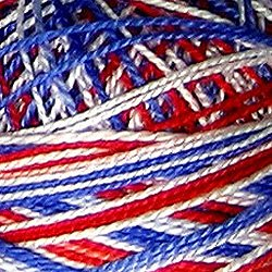 M17 Size 8 Patriotic - white, reds, blues Pearl Cotton