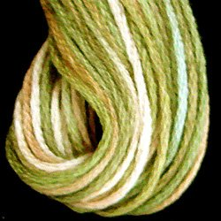 M47 Robin`s Nest - soft colors: limes dusty rose cream 6-Strand Embroidery Cotton Floss