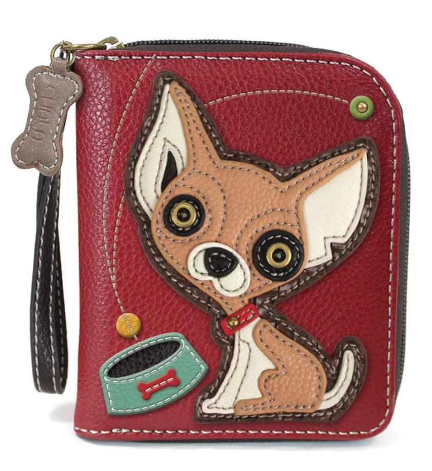 Chihuahua Burgundy Zip Around Wallet