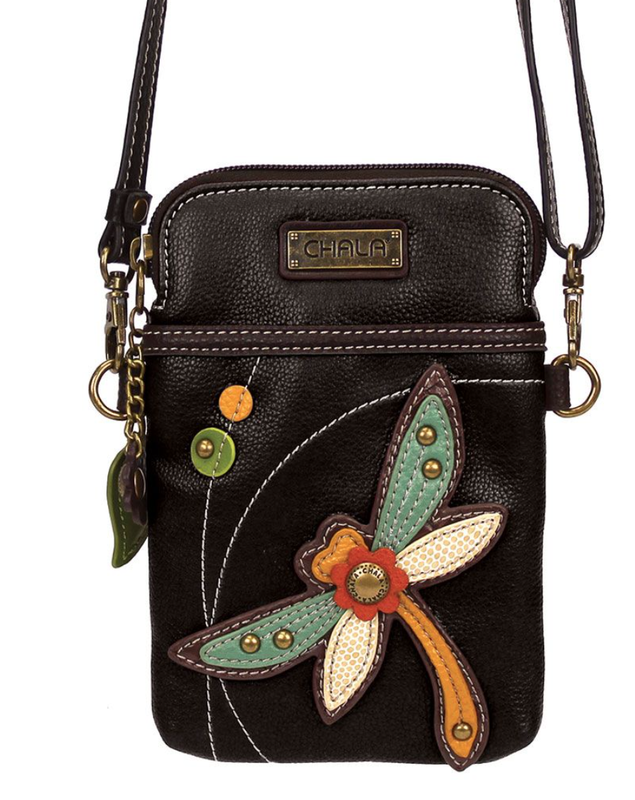 Dragonfly Cell Phone Crossbody  Black