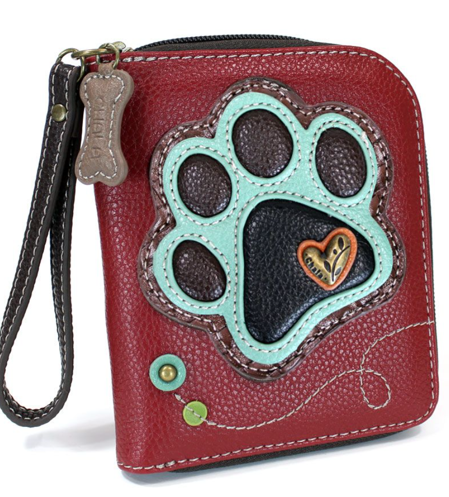 Teal Paw Print Zip Around Wallet