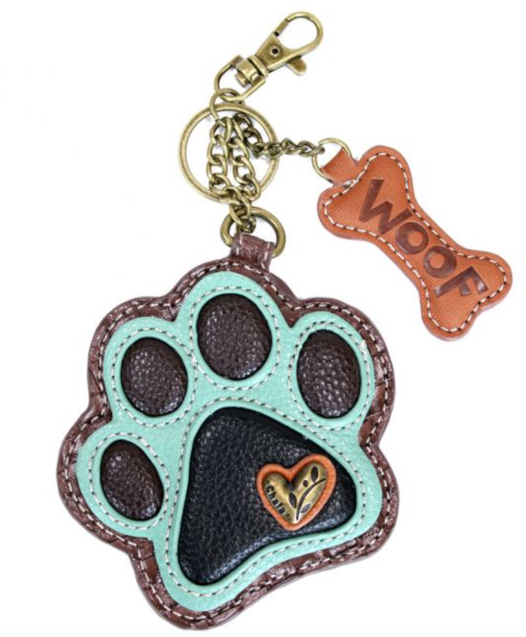 Teal Paw Print Key Fob/Coin Purse