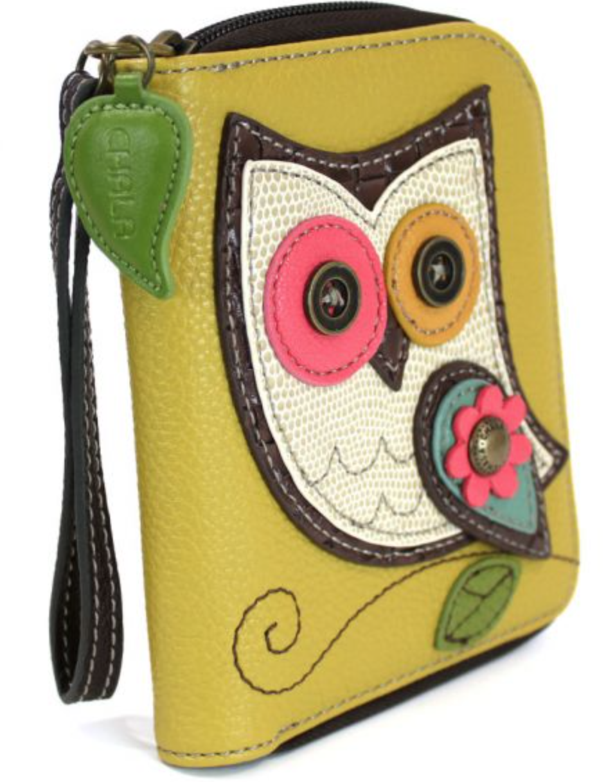 Owl Hoo Who Zip Around Wallet Mustard