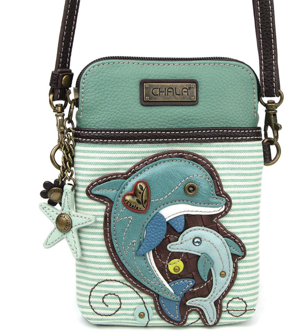 Dolphin Striped Teal Crossbody Cell Phone Purse