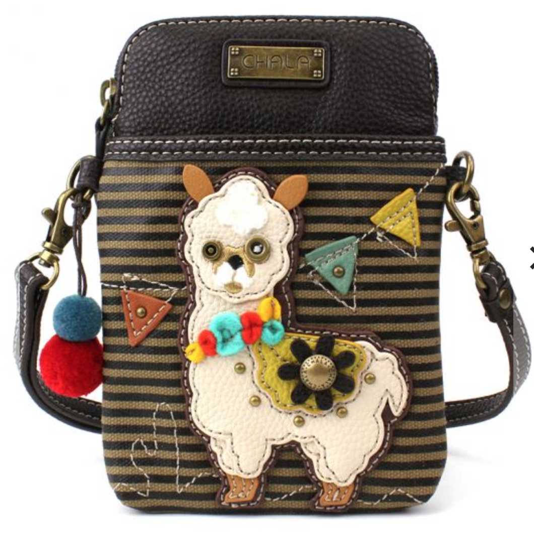 Llama - Striped Cell Phone Crossbody