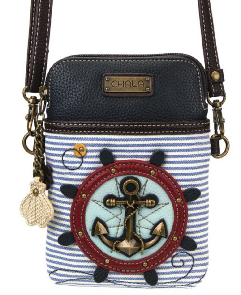 Anchor - Striped Cell Phone Crossbody