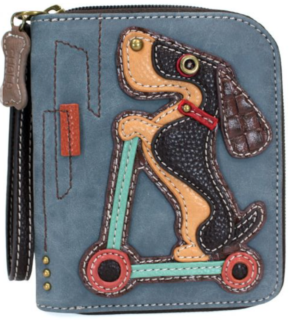 Dog on A Scooter Zip Around Wallet