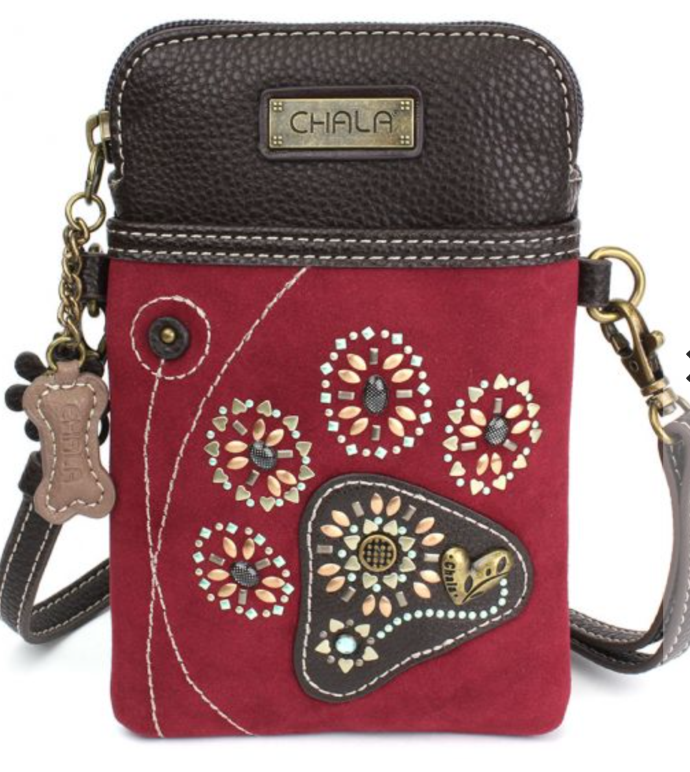 Dazzled Red Paw Print Cell Phone Crossbody