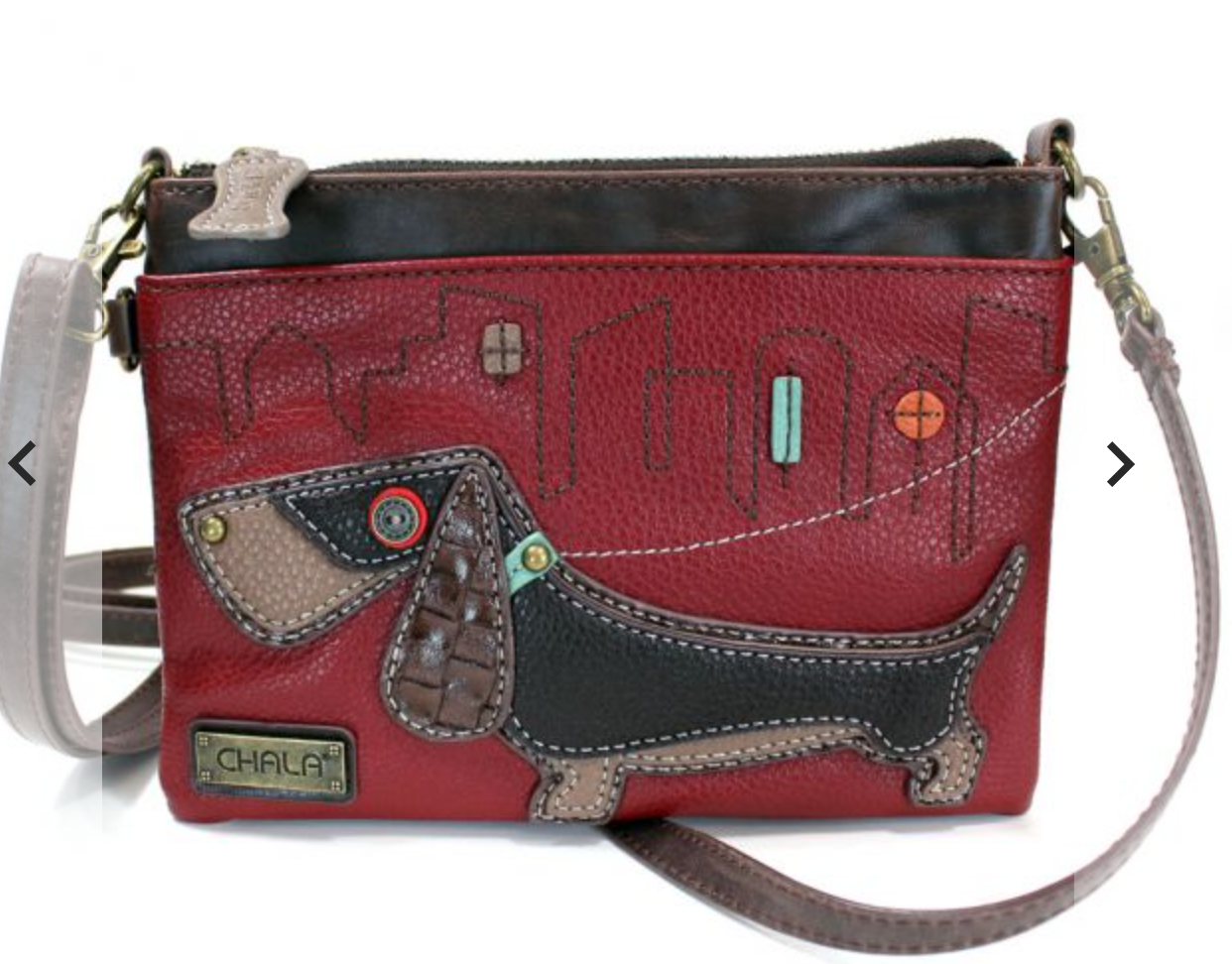 Wiener Dog Burgundy Mini Crossbody