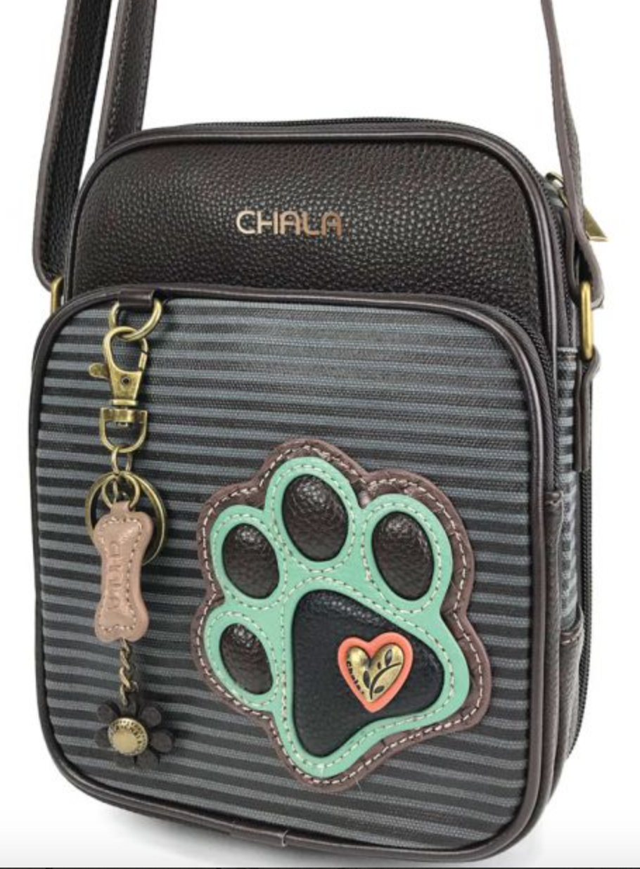 Teal Paw Print Striped Organizer Crossbody