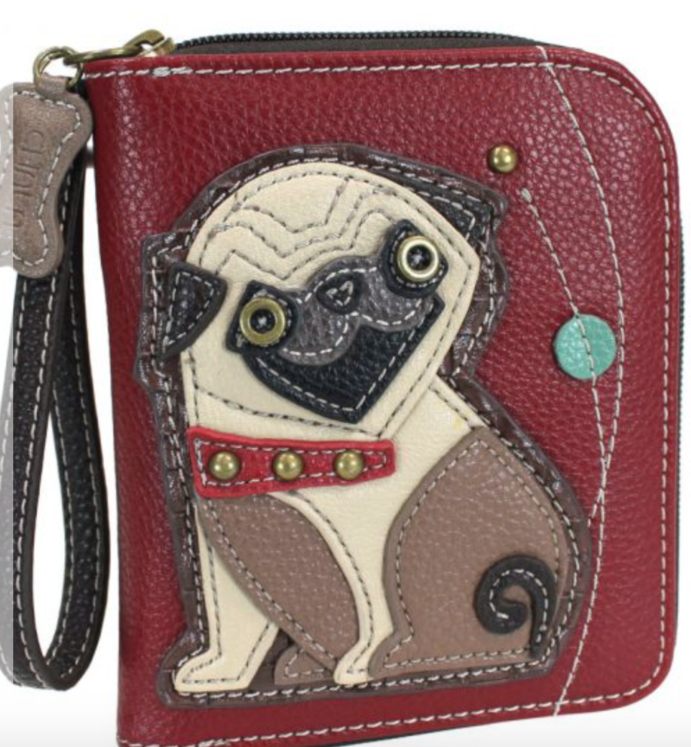 Pug Zip Around Wallet