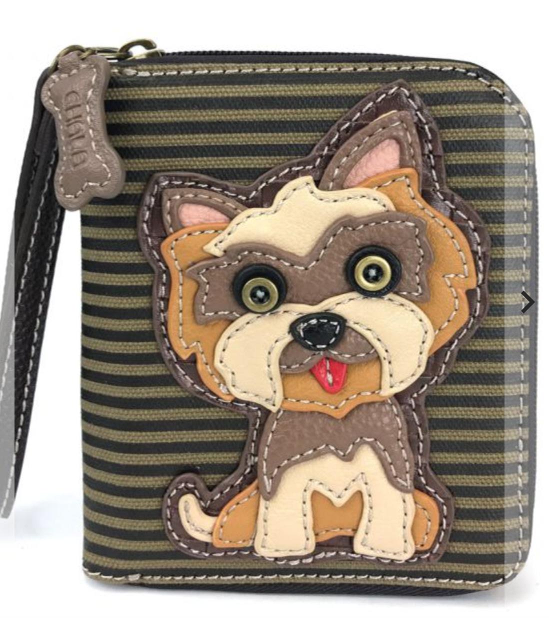Yorkshire Terrier Striped Zip Around Wallet