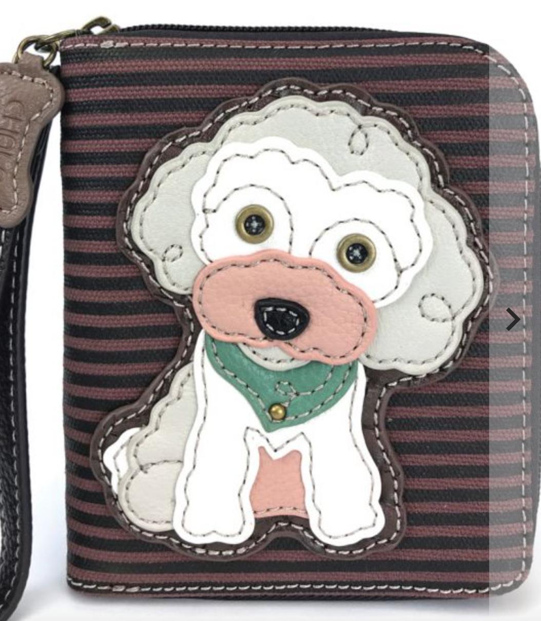 Poodle Striped Zip Around Wallet