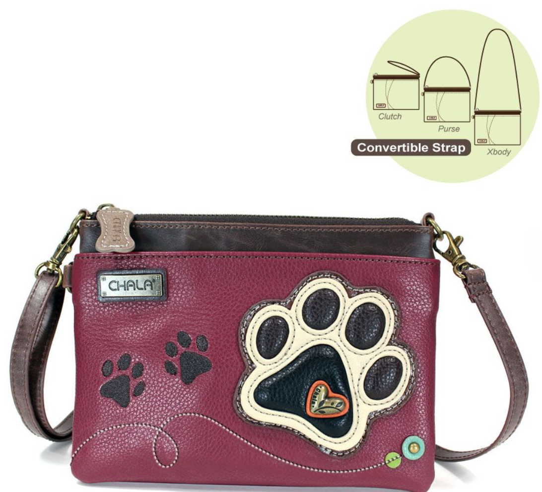 Paw Print Ivory Burgundy Mini Crossbody