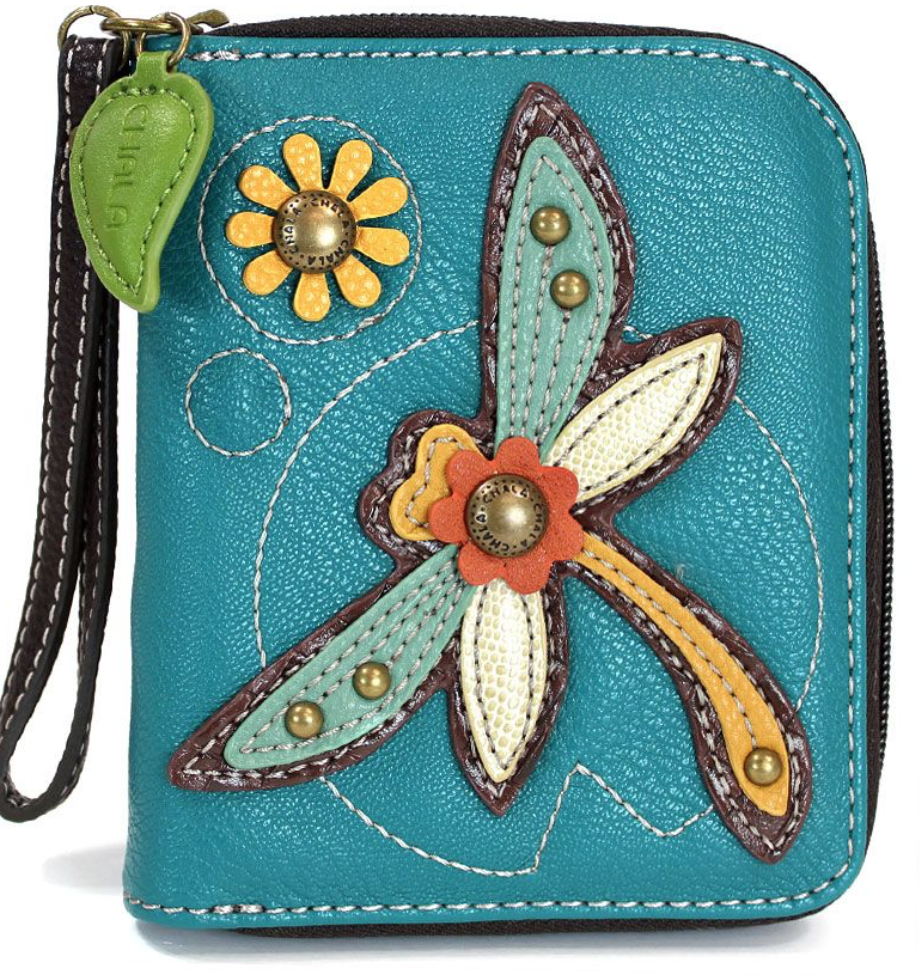 Dragonfly Turquoise Zip Around Wallet