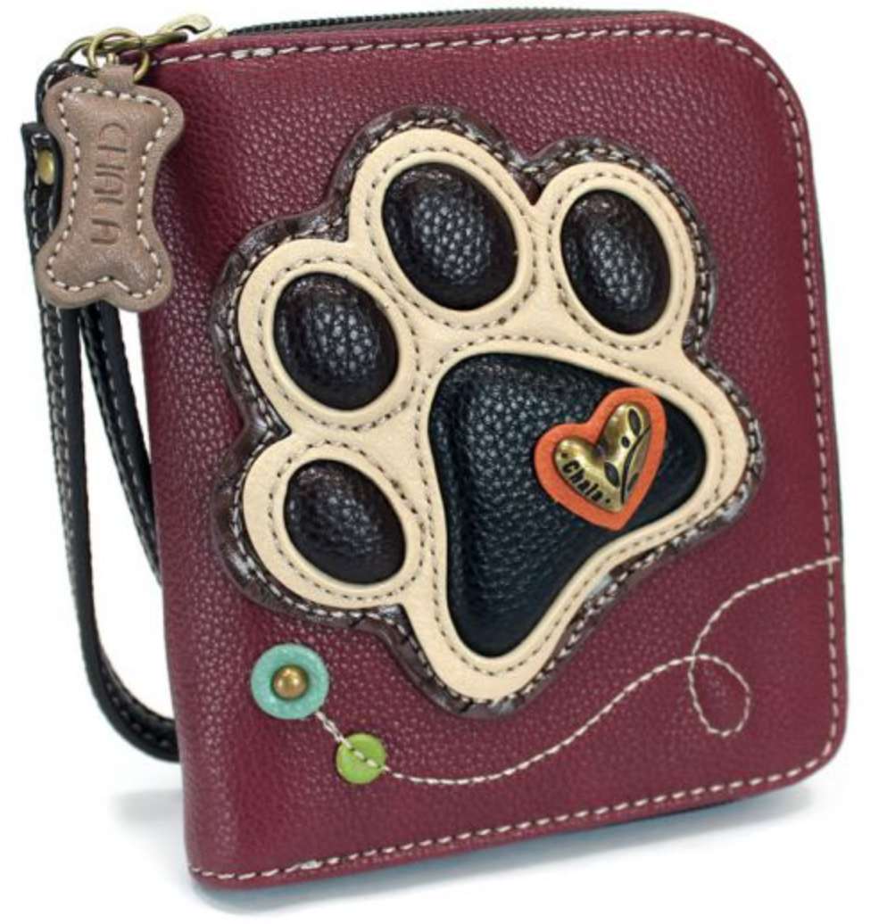 Paw Print Ivory Zip Around Wallet