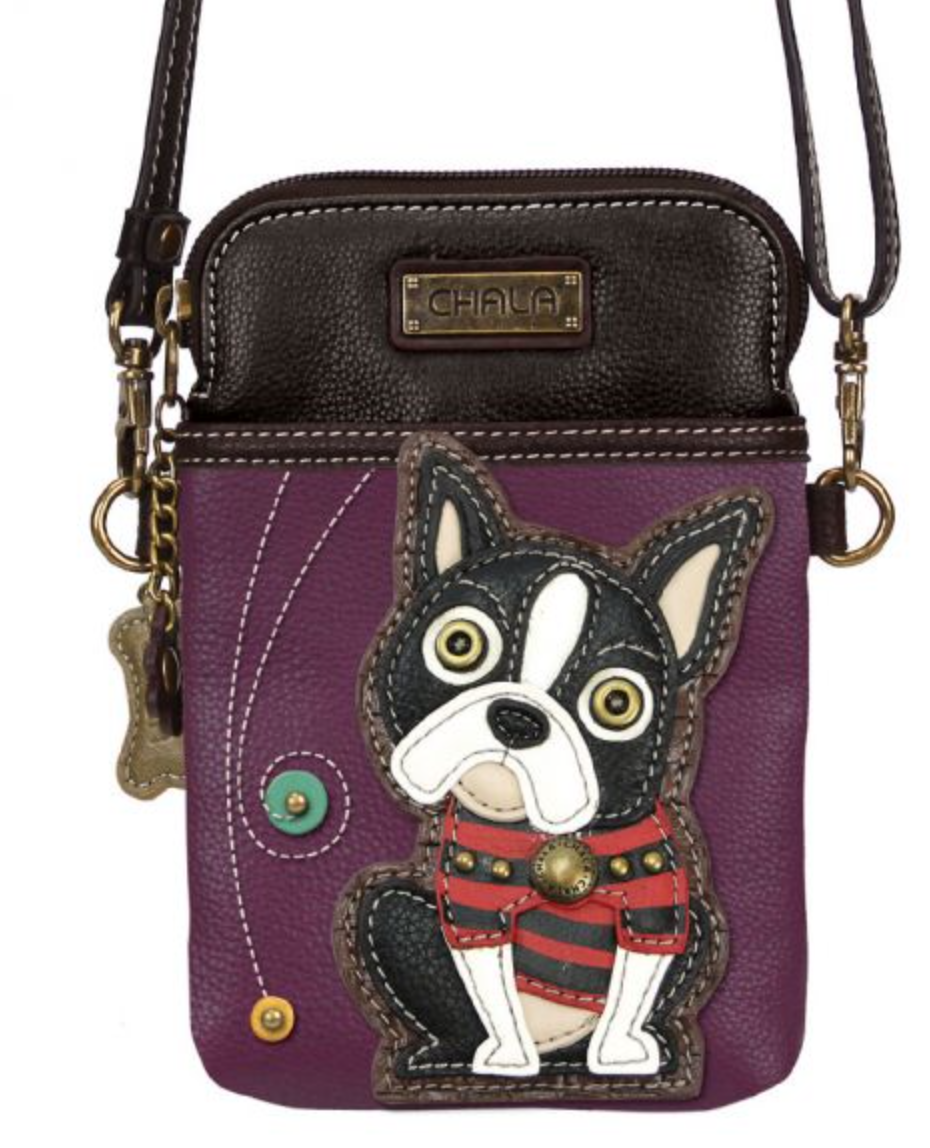 Boston Terrier Purple Cell Phone Crossbody