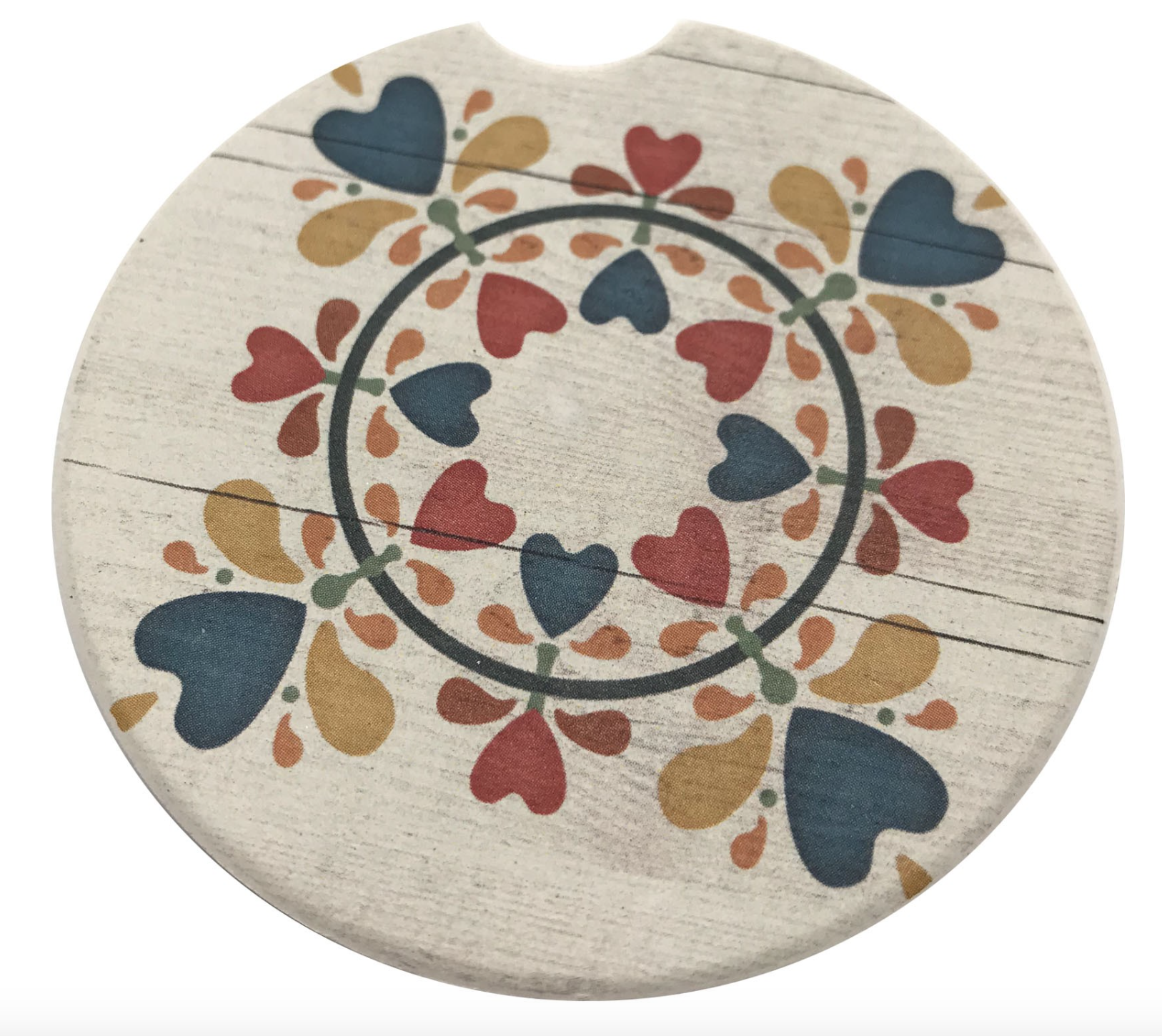 Folk Heart Car Coaster Absorbent Stone