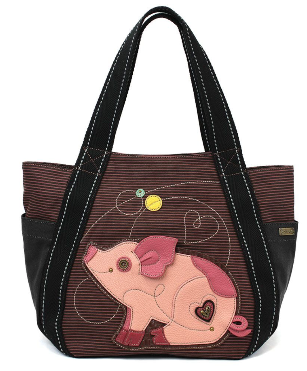 Striped Pig Carryall Zip Tote