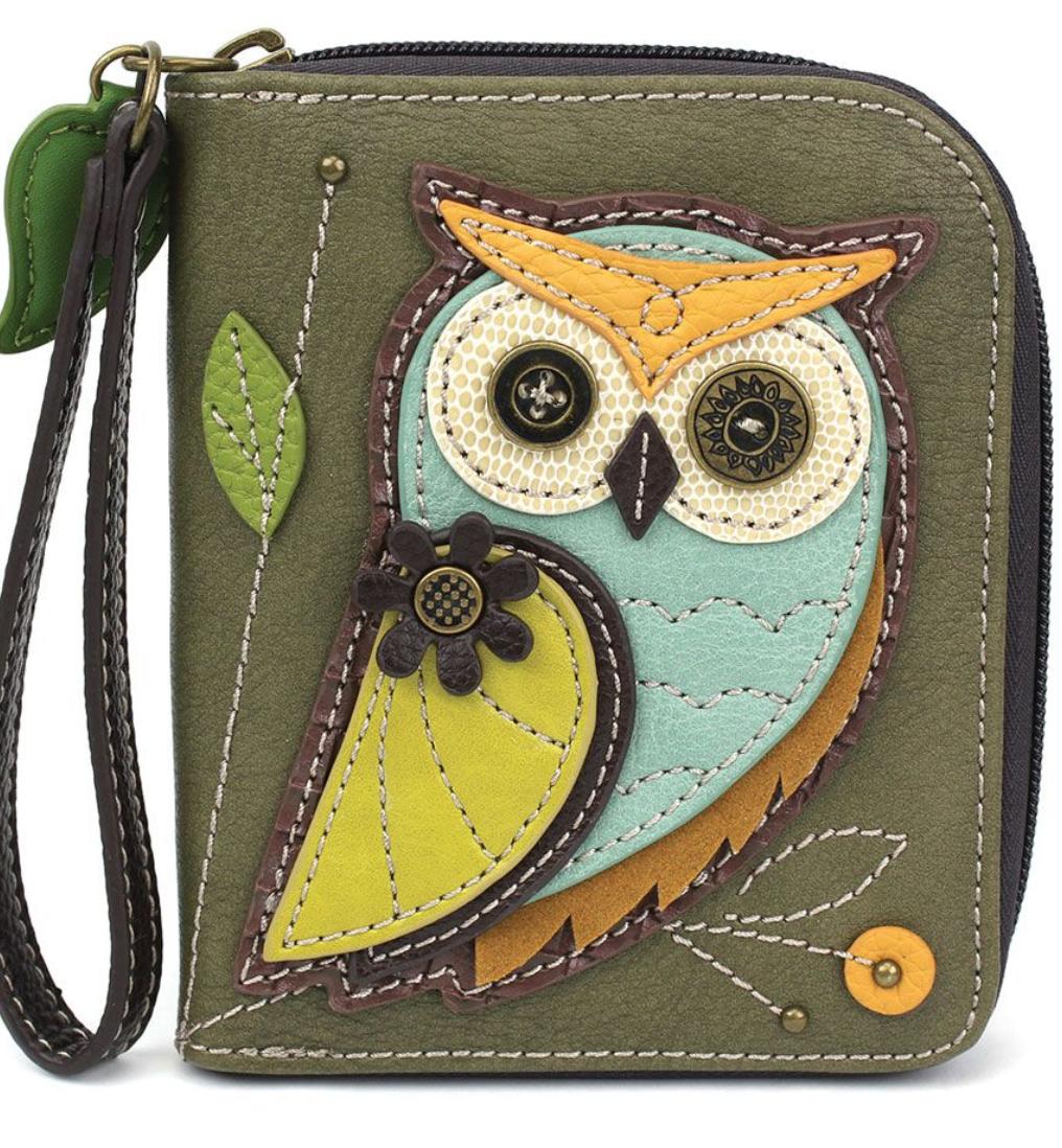 Owl Zip Around Wallet