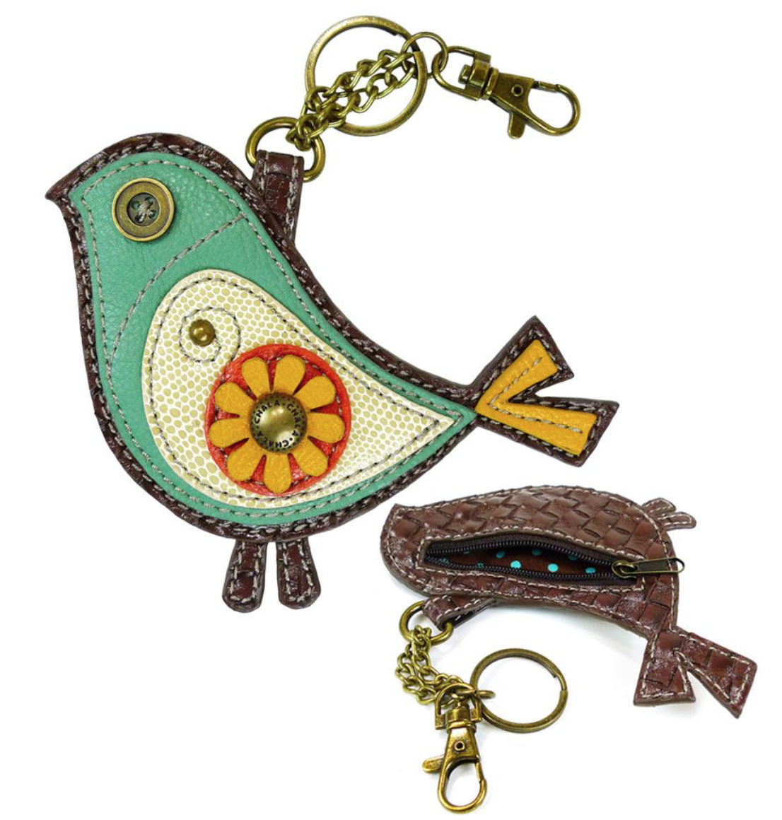 Aqua Blue Bird with Yellow Flower Key Fob