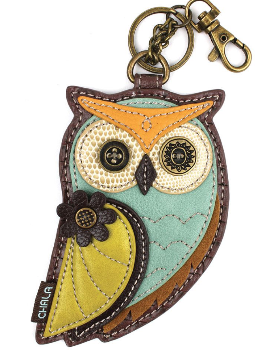 Owl with Yellow Wings Key Fob