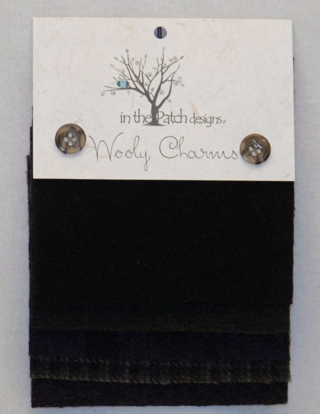 Wooly Charms Black Hand Dyed 100% wool 5in X 5in 5 count