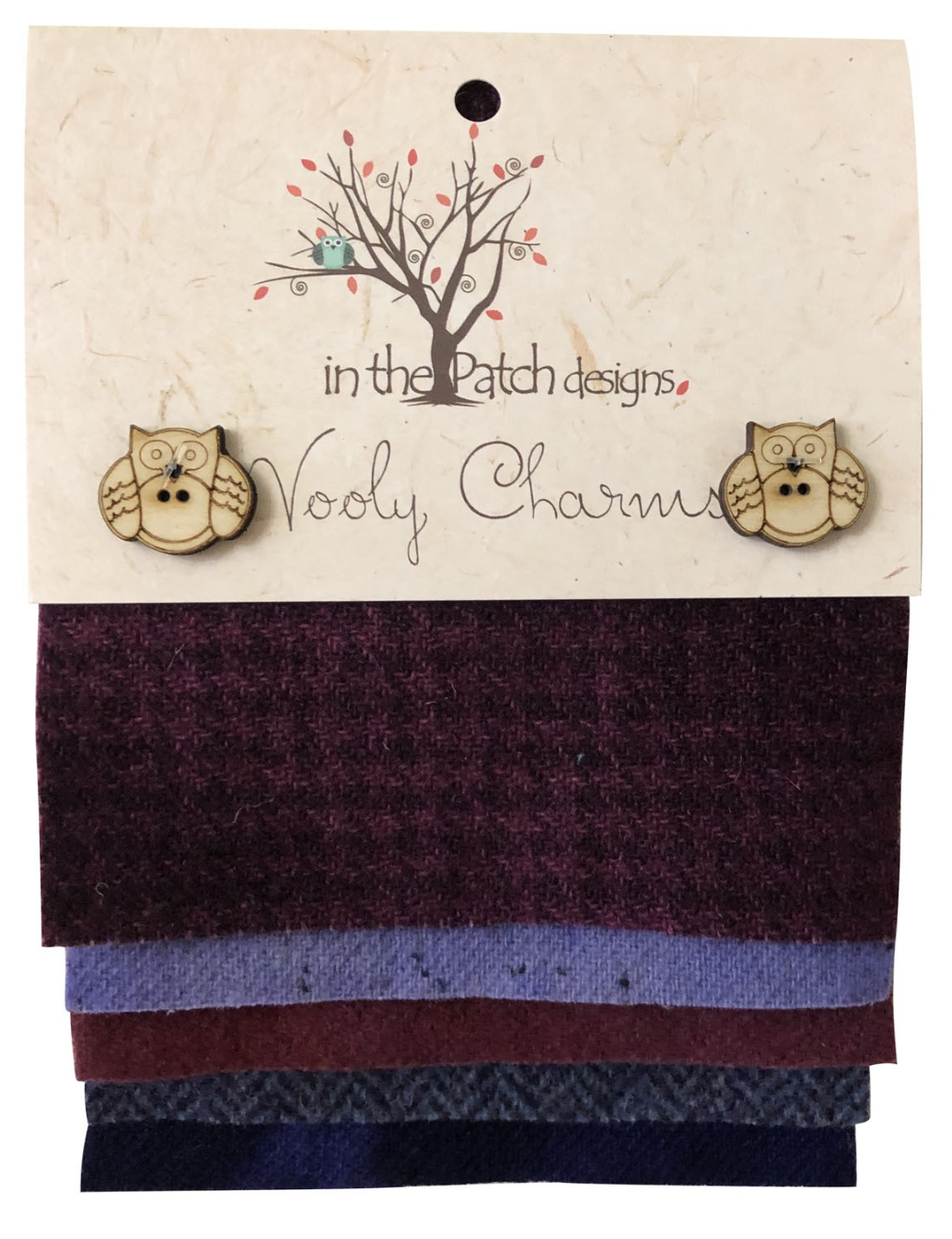 Wooly Charms Purples Dyed 100% wool 5in X 5in 5 count