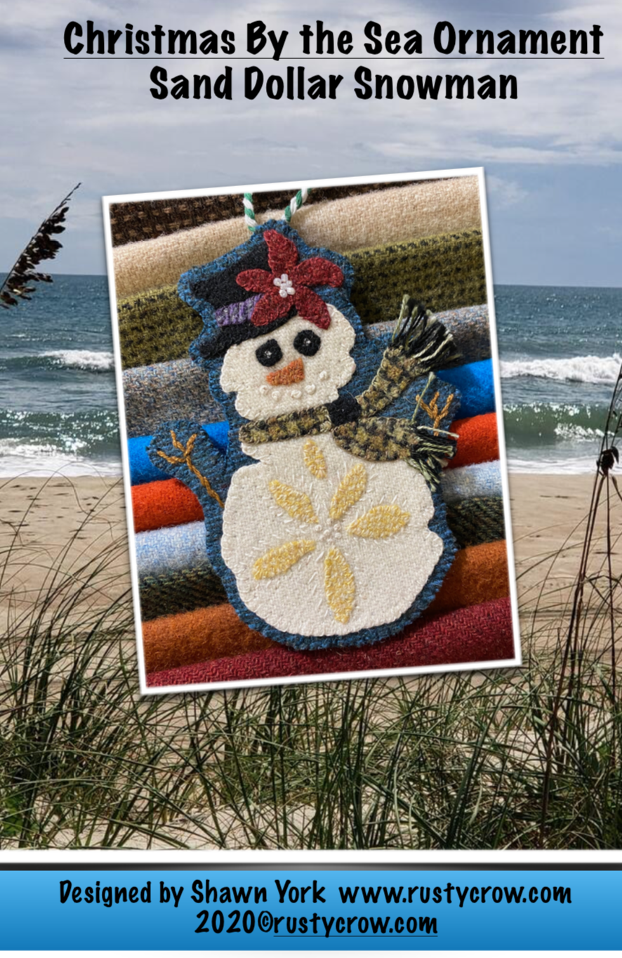 Sand Dollar Snowman Christmas by the Sea Ornament Wool Kit & Printed Pattern